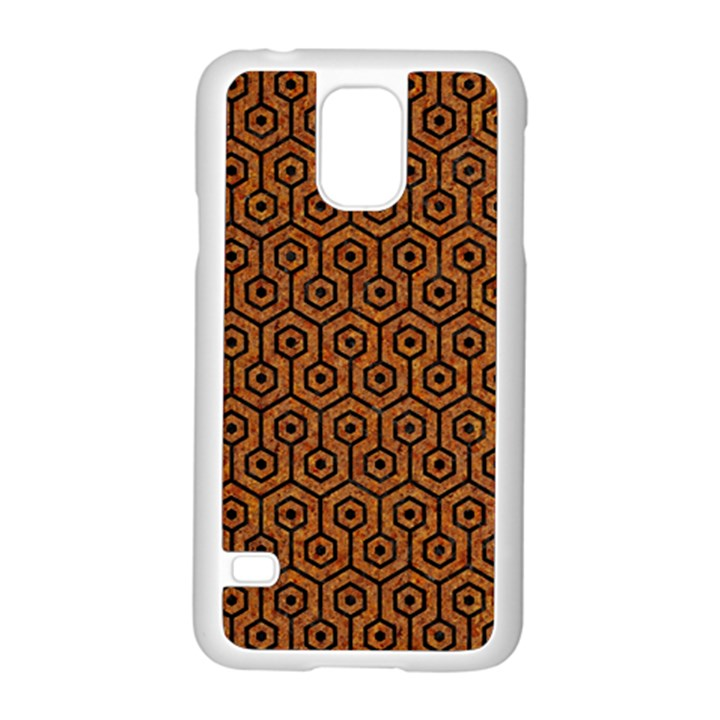 HEXAGON1 BLACK MARBLE & RUSTED METAL Samsung Galaxy S5 Case (White)