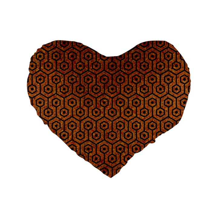 HEXAGON1 BLACK MARBLE & RUSTED METAL Standard 16  Premium Flano Heart Shape Cushions