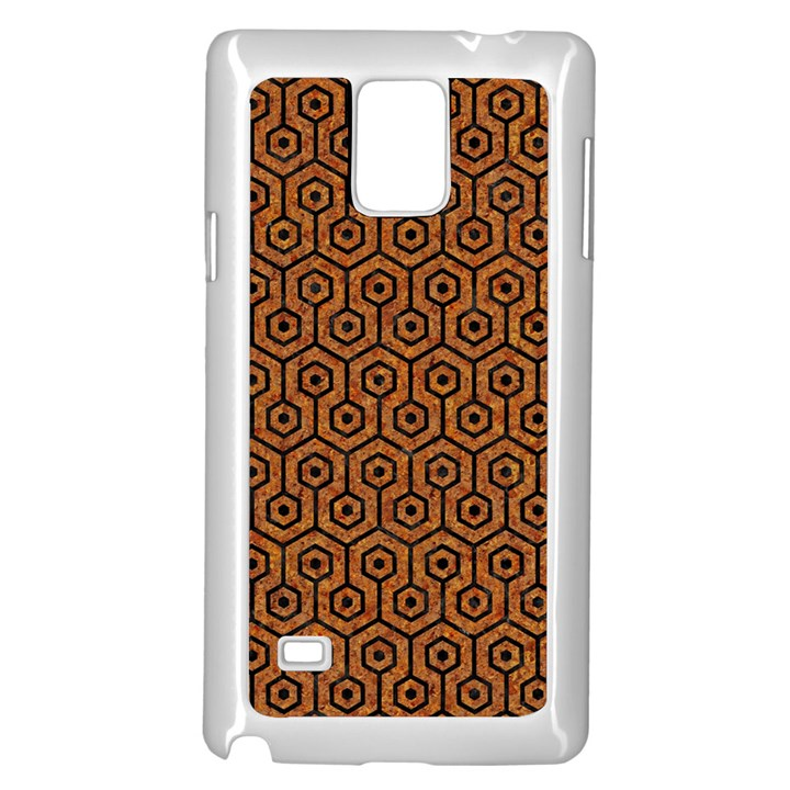 HEXAGON1 BLACK MARBLE & RUSTED METAL Samsung Galaxy Note 4 Case (White)
