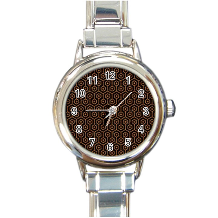 HEXAGON1 BLACK MARBLE & RUSTED METAL (R) Round Italian Charm Watch