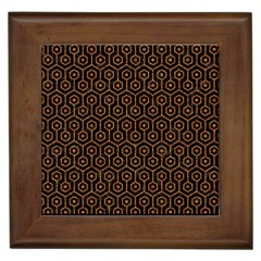 Hexagon1 Black Marble & Rusted Metal (r) Framed Tiles