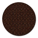 HEXAGON1 BLACK MARBLE & RUSTED METAL (R) Round Mousepads Front