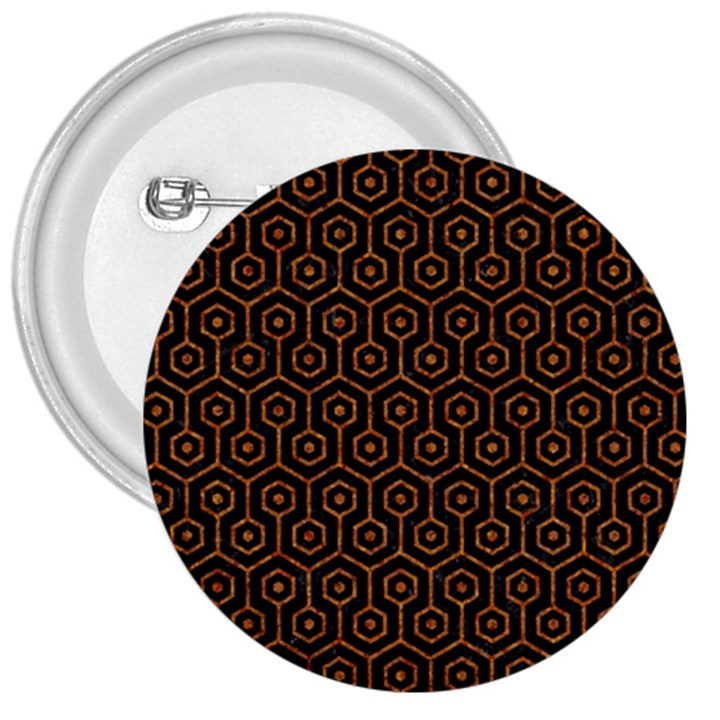 HEXAGON1 BLACK MARBLE & RUSTED METAL (R) 3  Buttons