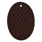 HEXAGON1 BLACK MARBLE & RUSTED METAL (R) Ornament (Oval) Front