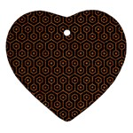 HEXAGON1 BLACK MARBLE & RUSTED METAL (R) Ornament (Heart) Front