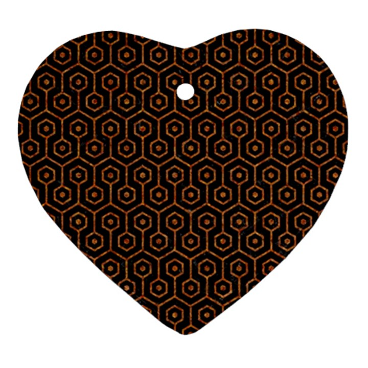 HEXAGON1 BLACK MARBLE & RUSTED METAL (R) Ornament (Heart)
