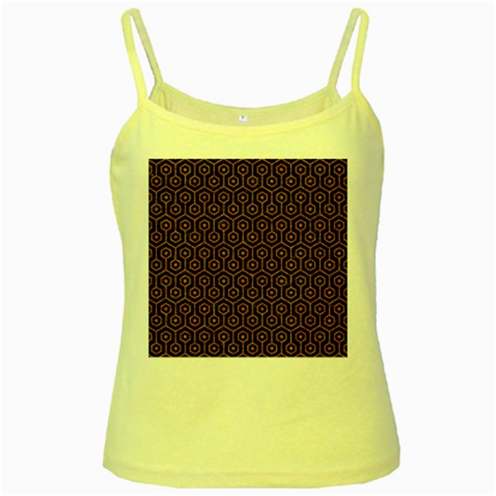 HEXAGON1 BLACK MARBLE & RUSTED METAL (R) Yellow Spaghetti Tank