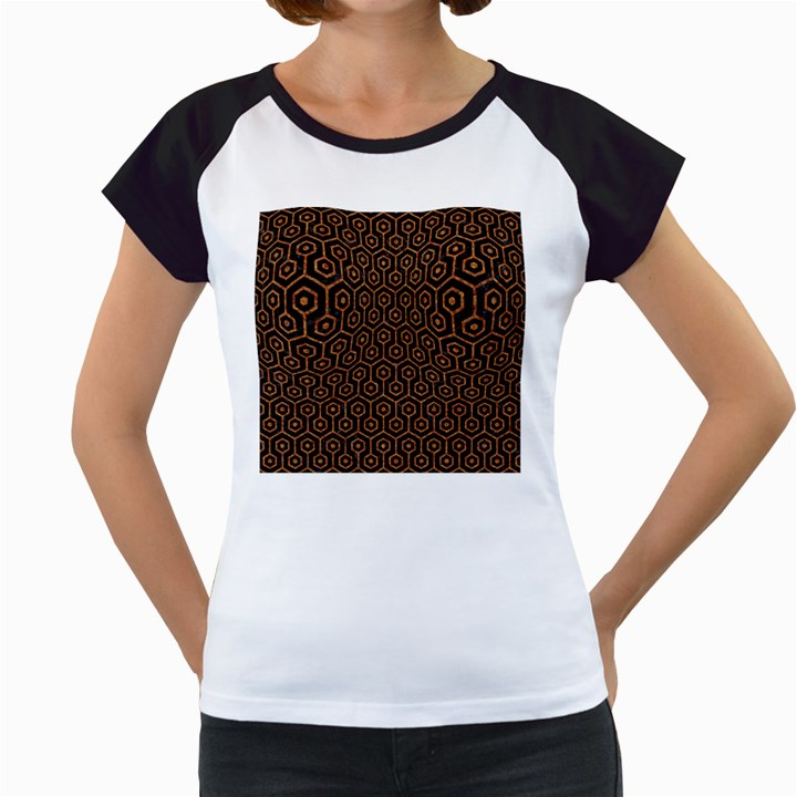 HEXAGON1 BLACK MARBLE & RUSTED METAL (R) Women s Cap Sleeve T