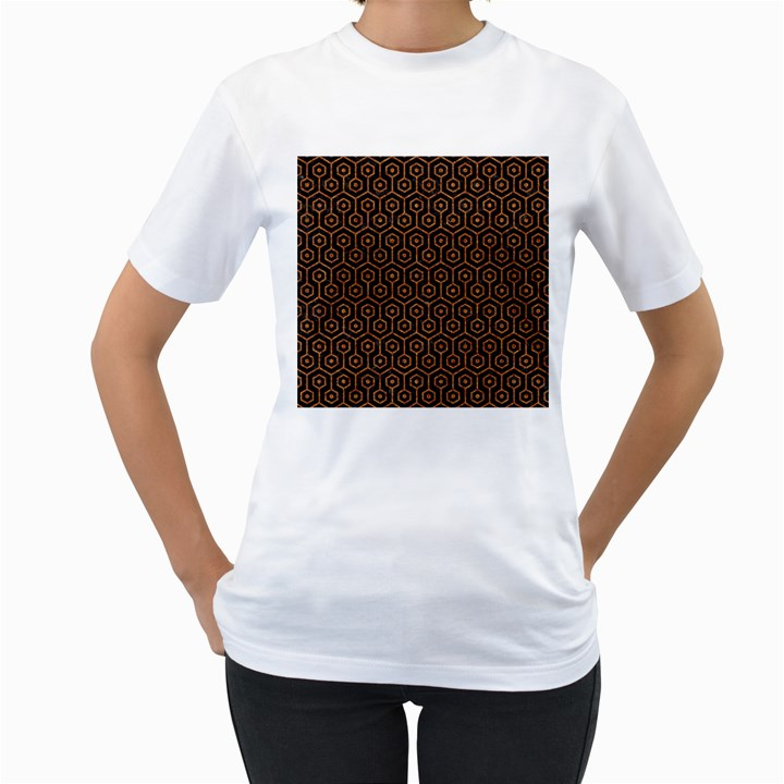 HEXAGON1 BLACK MARBLE & RUSTED METAL (R) Women s T-Shirt (White) (Two Sided)
