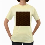 HEXAGON1 BLACK MARBLE & RUSTED METAL (R) Women s Yellow T-Shirt Front