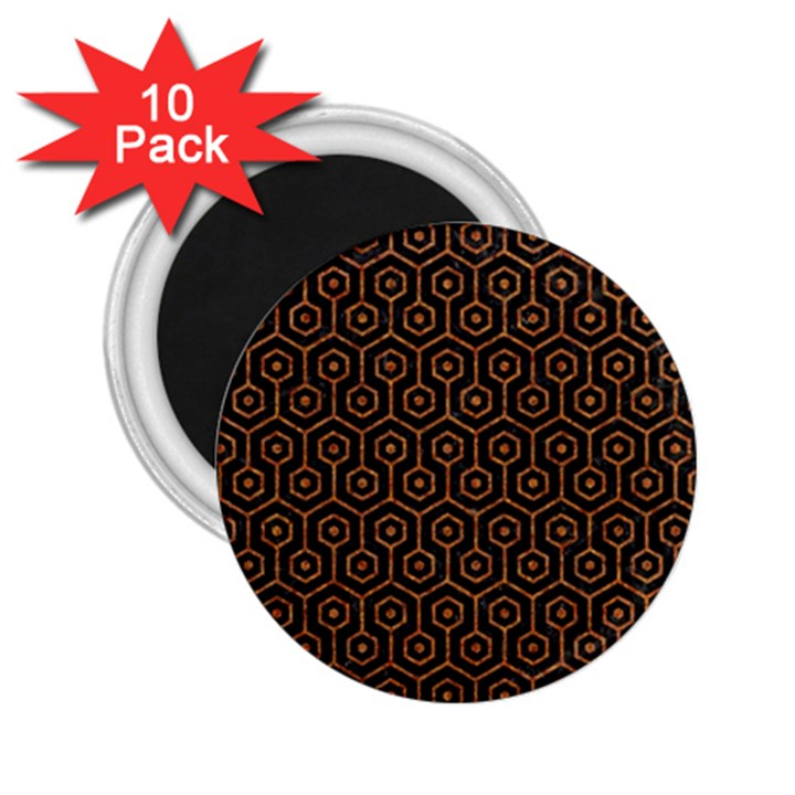 HEXAGON1 BLACK MARBLE & RUSTED METAL (R) 2.25  Magnets (10 pack)