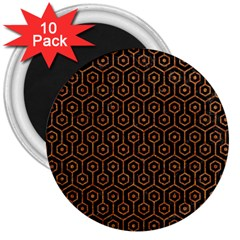 Hexagon1 Black Marble & Rusted Metal (r) 3  Magnets (10 Pack)