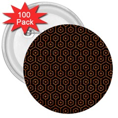 Hexagon1 Black Marble & Rusted Metal (r) 3  Buttons (100 Pack)