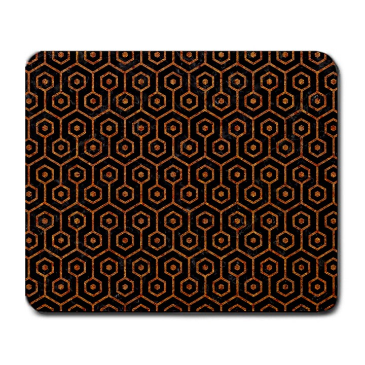 HEXAGON1 BLACK MARBLE & RUSTED METAL (R) Large Mousepads