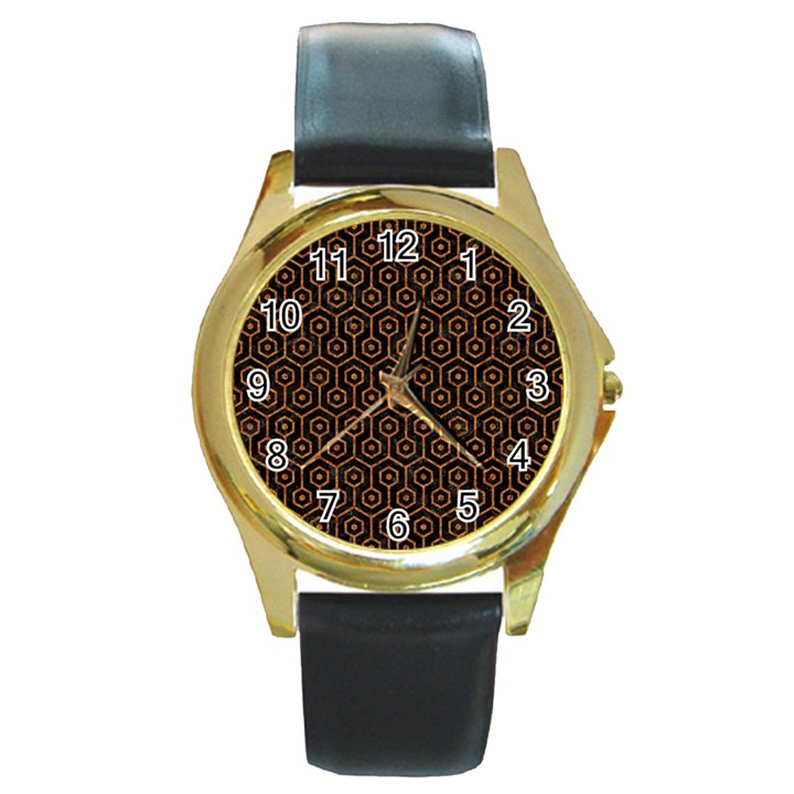 HEXAGON1 BLACK MARBLE & RUSTED METAL (R) Round Gold Metal Watch