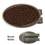 HEXAGON1 BLACK MARBLE & RUSTED METAL (R) Money Clips (Oval)  Front