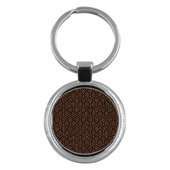 Hexagon1 Black Marble & Rusted Metal (r) Key Chains (round)