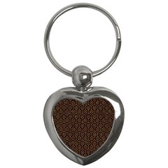 Hexagon1 Black Marble & Rusted Metal (r) Key Chains (heart)