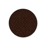 HEXAGON1 BLACK MARBLE & RUSTED METAL (R) Rubber Round Coaster (4 pack)  Front