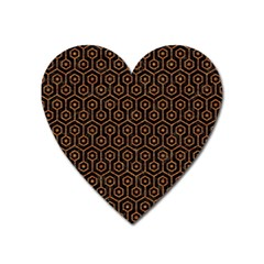 Hexagon1 Black Marble & Rusted Metal (r) Heart Magnet