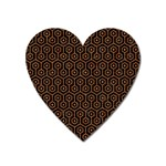 HEXAGON1 BLACK MARBLE & RUSTED METAL (R) Heart Magnet Front