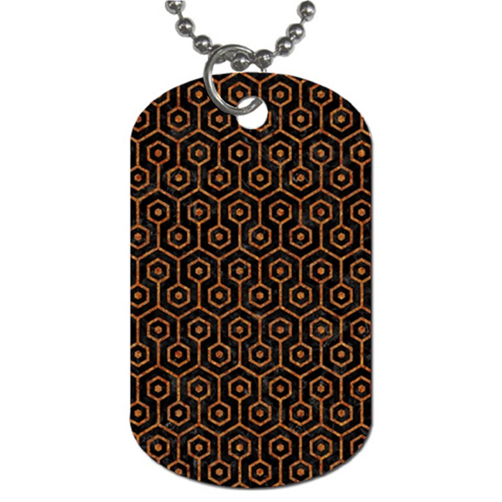 HEXAGON1 BLACK MARBLE & RUSTED METAL (R) Dog Tag (Two Sides)