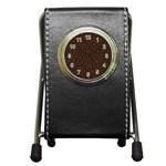 HEXAGON1 BLACK MARBLE & RUSTED METAL (R) Pen Holder Desk Clocks Front