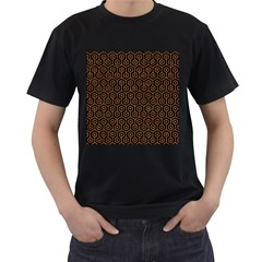 Hexagon1 Black Marble & Rusted Metal (r) Men s T Shirt (black) (two Sided)