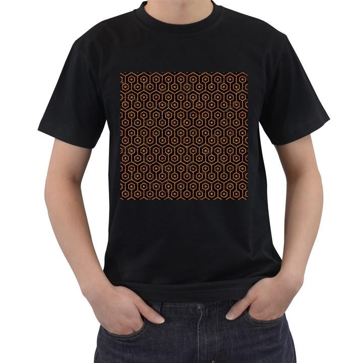 HEXAGON1 BLACK MARBLE & RUSTED METAL (R) Men s T-Shirt (Black) (Two Sided)