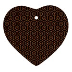 HEXAGON1 BLACK MARBLE & RUSTED METAL (R) Heart Ornament (Two Sides) Back