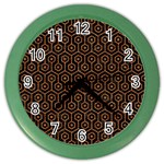 HEXAGON1 BLACK MARBLE & RUSTED METAL (R) Color Wall Clocks Front