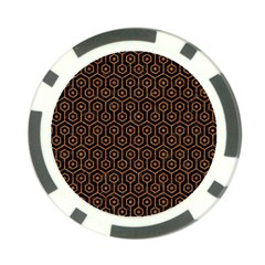 Hexagon1 Black Marble & Rusted Metal (r) Poker Chip Card Guard