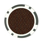 HEXAGON1 BLACK MARBLE & RUSTED METAL (R) Poker Chip Card Guard Front
