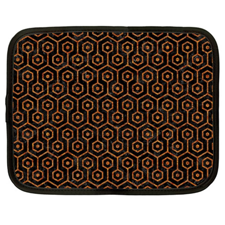 HEXAGON1 BLACK MARBLE & RUSTED METAL (R) Netbook Case (Large)