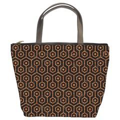 Hexagon1 Black Marble & Rusted Metal (r) Bucket Bags
