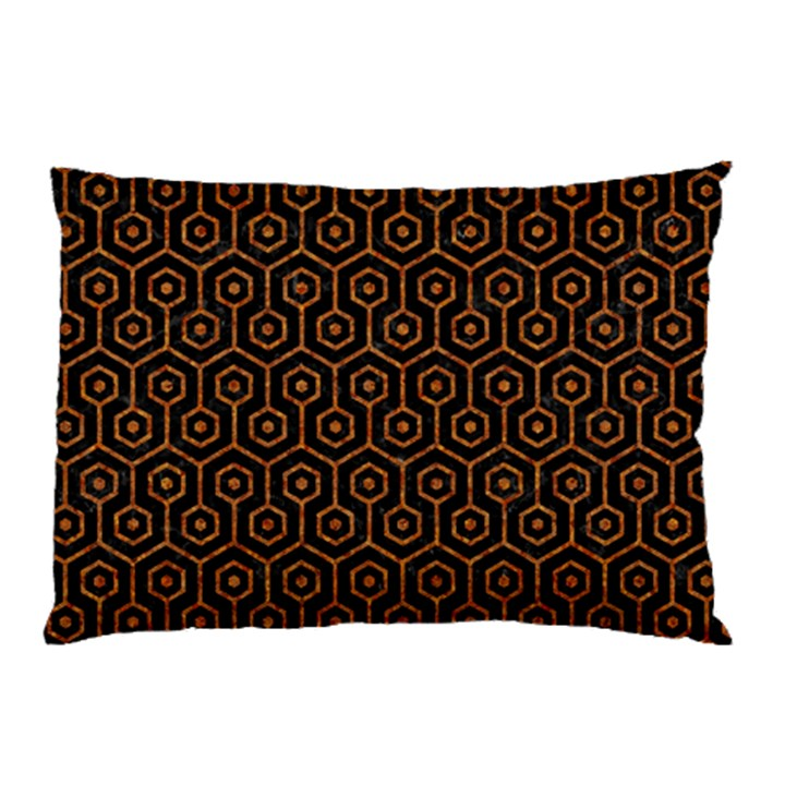HEXAGON1 BLACK MARBLE & RUSTED METAL (R) Pillow Case