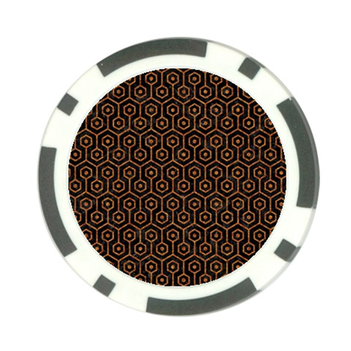 HEXAGON1 BLACK MARBLE & RUSTED METAL (R) Poker Chip Card Guard (10 pack)