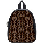 HEXAGON1 BLACK MARBLE & RUSTED METAL (R) School Bag (Small) Front