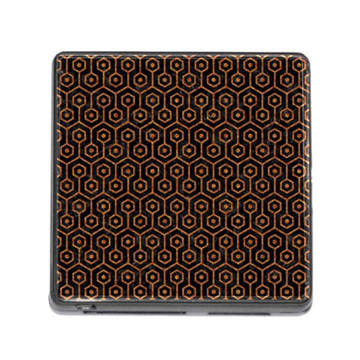 HEXAGON1 BLACK MARBLE & RUSTED METAL (R) Memory Card Reader (Square)