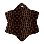 HEXAGON1 BLACK MARBLE & RUSTED METAL (R) Snowflake Ornament (Two Sides) Back