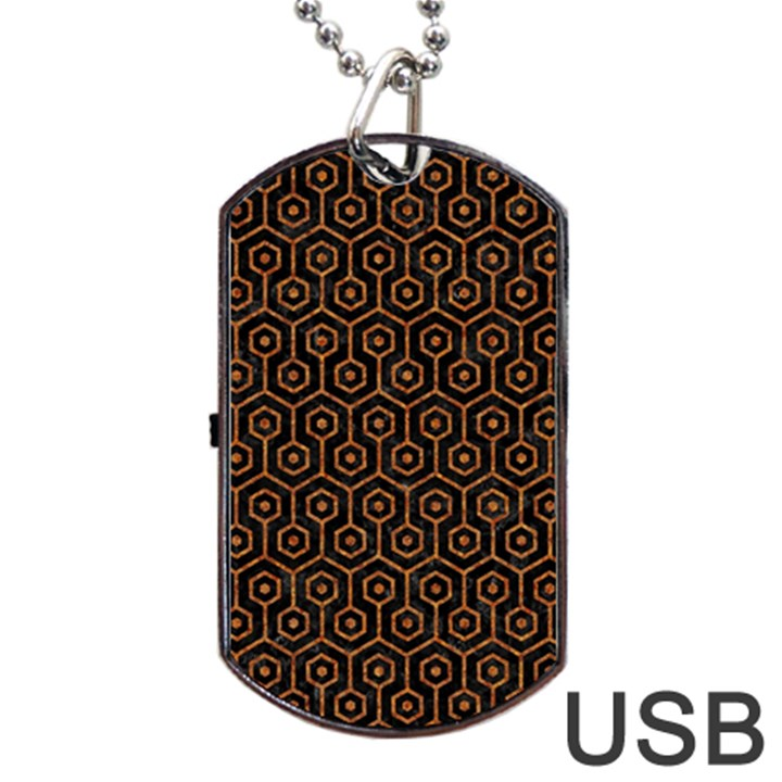 HEXAGON1 BLACK MARBLE & RUSTED METAL (R) Dog Tag USB Flash (One Side)