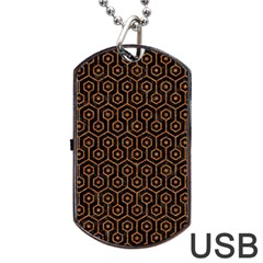 Hexagon1 Black Marble & Rusted Metal (r) Dog Tag Usb Flash (two Sides)
