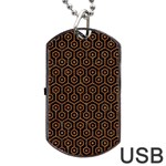 HEXAGON1 BLACK MARBLE & RUSTED METAL (R) Dog Tag USB Flash (Two Sides) Back