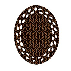 Hexagon1 Black Marble & Rusted Metal (r) Ornament (oval Filigree)
