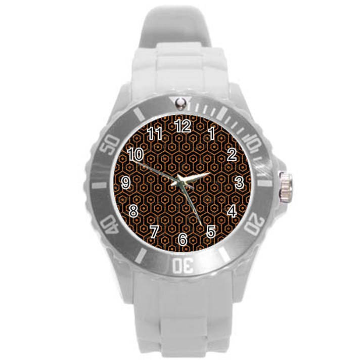 HEXAGON1 BLACK MARBLE & RUSTED METAL (R) Round Plastic Sport Watch (L)