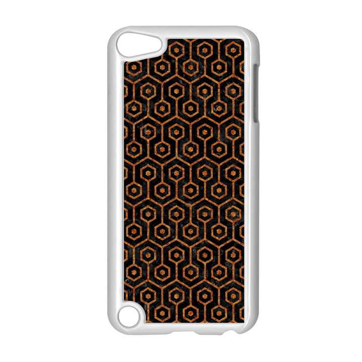 HEXAGON1 BLACK MARBLE & RUSTED METAL (R) Apple iPod Touch 5 Case (White)