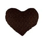 HEXAGON1 BLACK MARBLE & RUSTED METAL (R) Standard 16  Premium Heart Shape Cushions Front