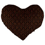 HEXAGON1 BLACK MARBLE & RUSTED METAL (R) Large 19  Premium Heart Shape Cushions Front