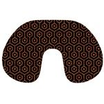 HEXAGON1 BLACK MARBLE & RUSTED METAL (R) Travel Neck Pillows Back