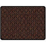 HEXAGON1 BLACK MARBLE & RUSTED METAL (R) Double Sided Fleece Blanket (Large)  80 x60 Blanket Front